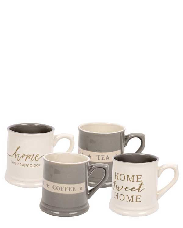 Set of 4 Stoneware Printed Mugs